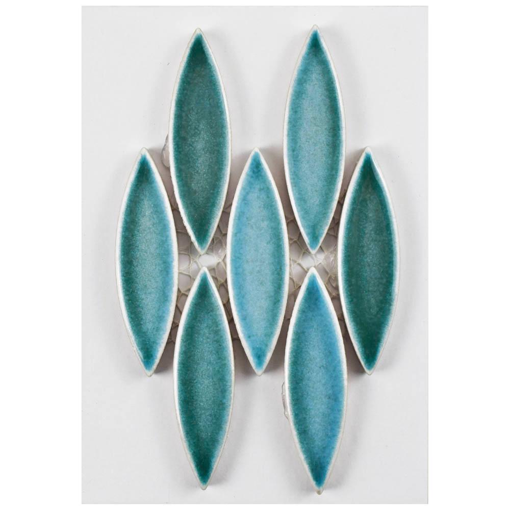 Merola Tile Pescado Glossy Agua Ceramic Mosaic 3 In