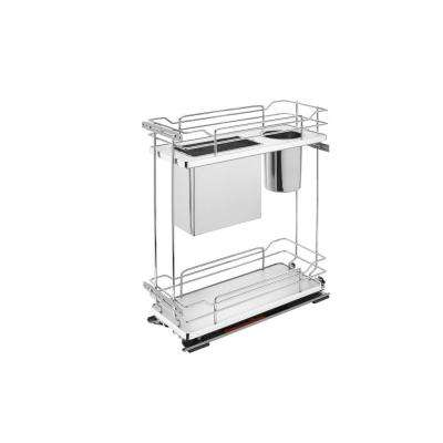 21 in. H x 8.38 in. W x 22.38 in. D Two-Tier Pull-Out Gray Wire Organizer with knife Block