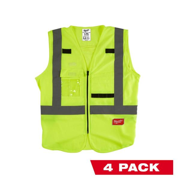 Large/X-Large Yellow Class 2 High Visibility Safety Vest with 10 Pockets (4-Pack)
