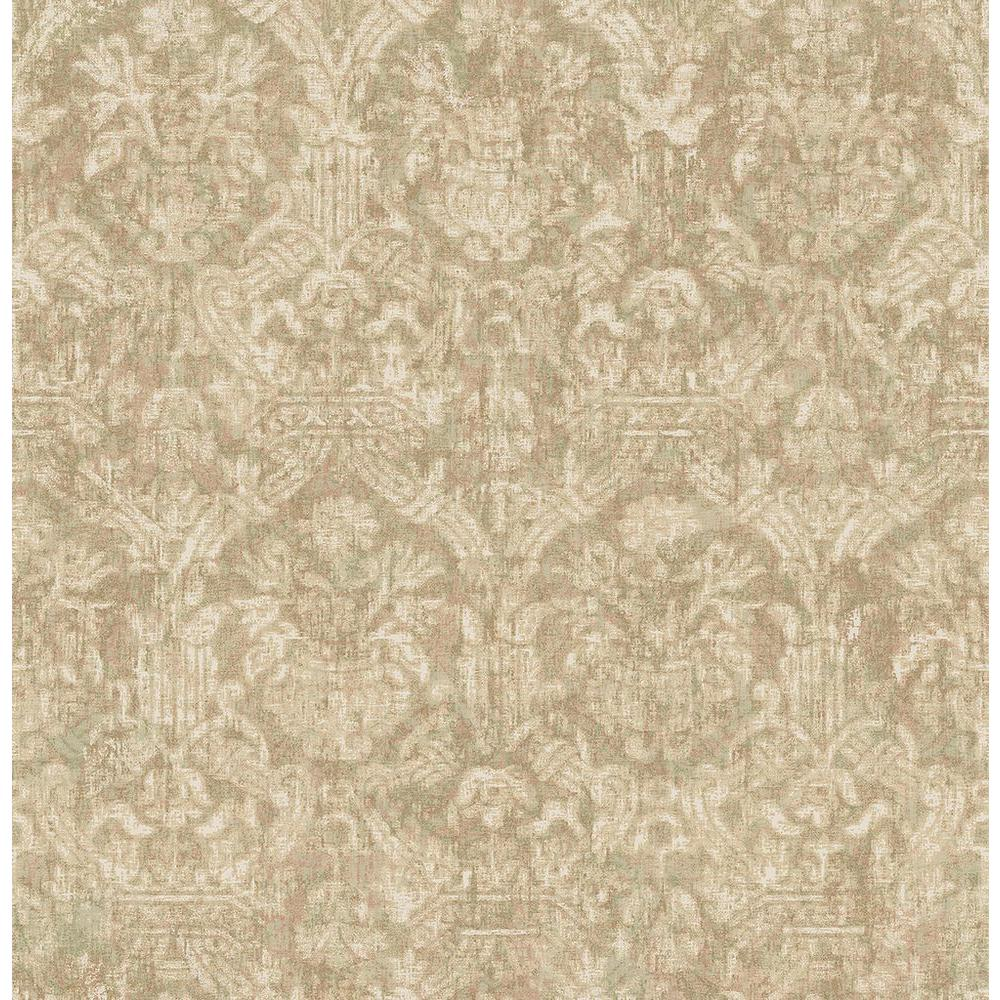 Lotus Green Damask Wallpaper