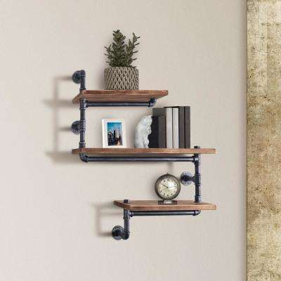 Dortmund Industrial Floating Silver Brushed Gray Pipe Wall Shelf with Walnut Wood