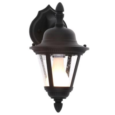 Westport Collection 1-Light 12.75 in. Outdoor Textured Black Wall Lantern Sconce