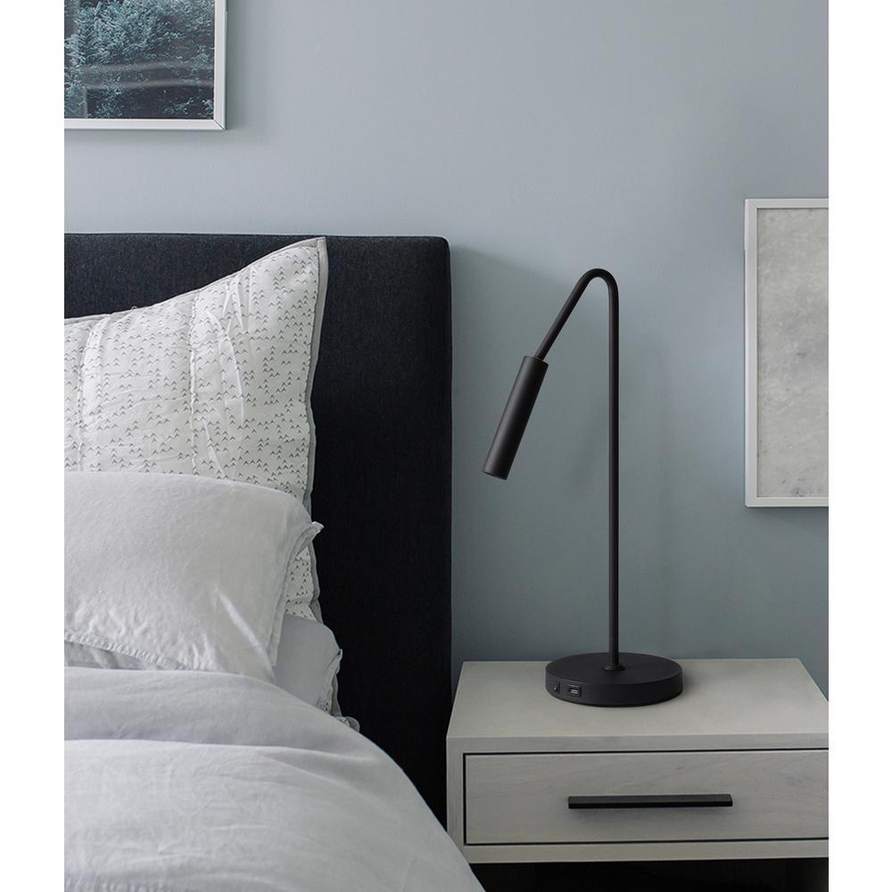 NOVA of California Spotlight 22 in. Matte Black Table Lamp