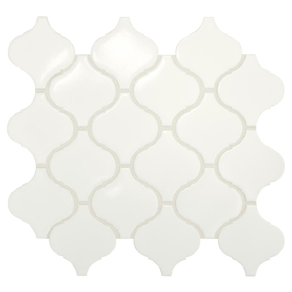 Premier Accents Pure White Arabesque 11 in. x 12 in. x