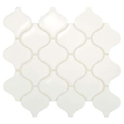Premier Accents Pure White Arabesque 11 in. x 12 in. x 4 mm Porcelain Mosaic Tile