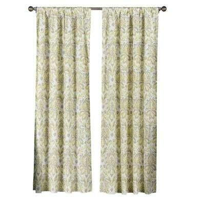 Semi-Opaque Biltmore 100% Cotton Extra Wide 84 in. L Rod Pocket Curtain Panel Pair, Yellow/Grey (Set of 2)