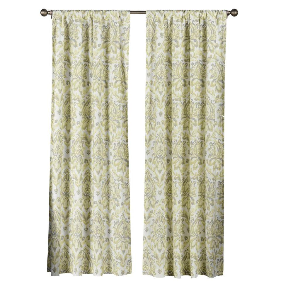 adeb318ac3ecf9 Semi-Opaque Paige 100% Cotton Extra Wide 84 in. L Rod Pocket Curtain Panel  Pair, Yellow/Grey (Set of 2)