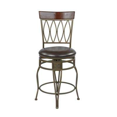24 in. Espresso Faux Leather Cosmo Metal Swivel Barstool Seat