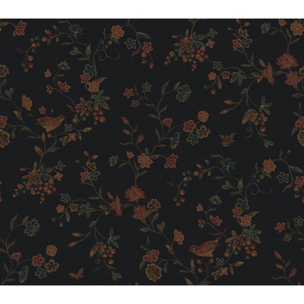 The Wallpaper Company 56 sq. ft. Noir Imperial Silk Wallpaper