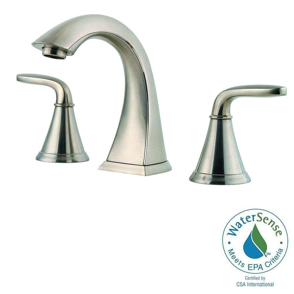Pfister Pasadena 8 in. Widespread 2-Handle High-Arc Bathroom Faucet in Brushed Nickel