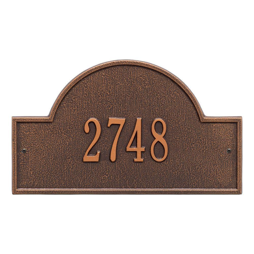 Arch Marker Standard Antique Copper Wall 1-Line Address Plaque
