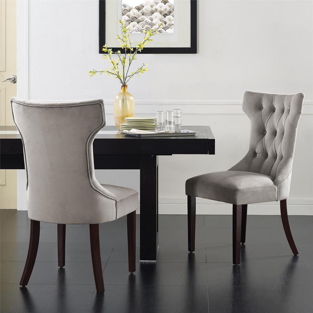 Clairborne Taupe Microfiber Tufted Dining Chairs (Set of 2)