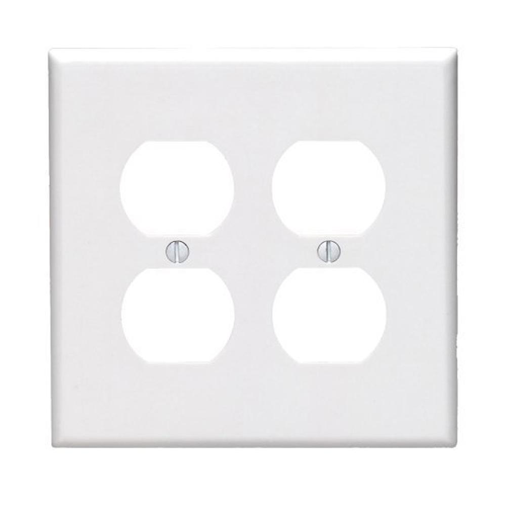 1-Gang Midway Size 2-Duplex Receptacles Plastic Wall Plate in White
