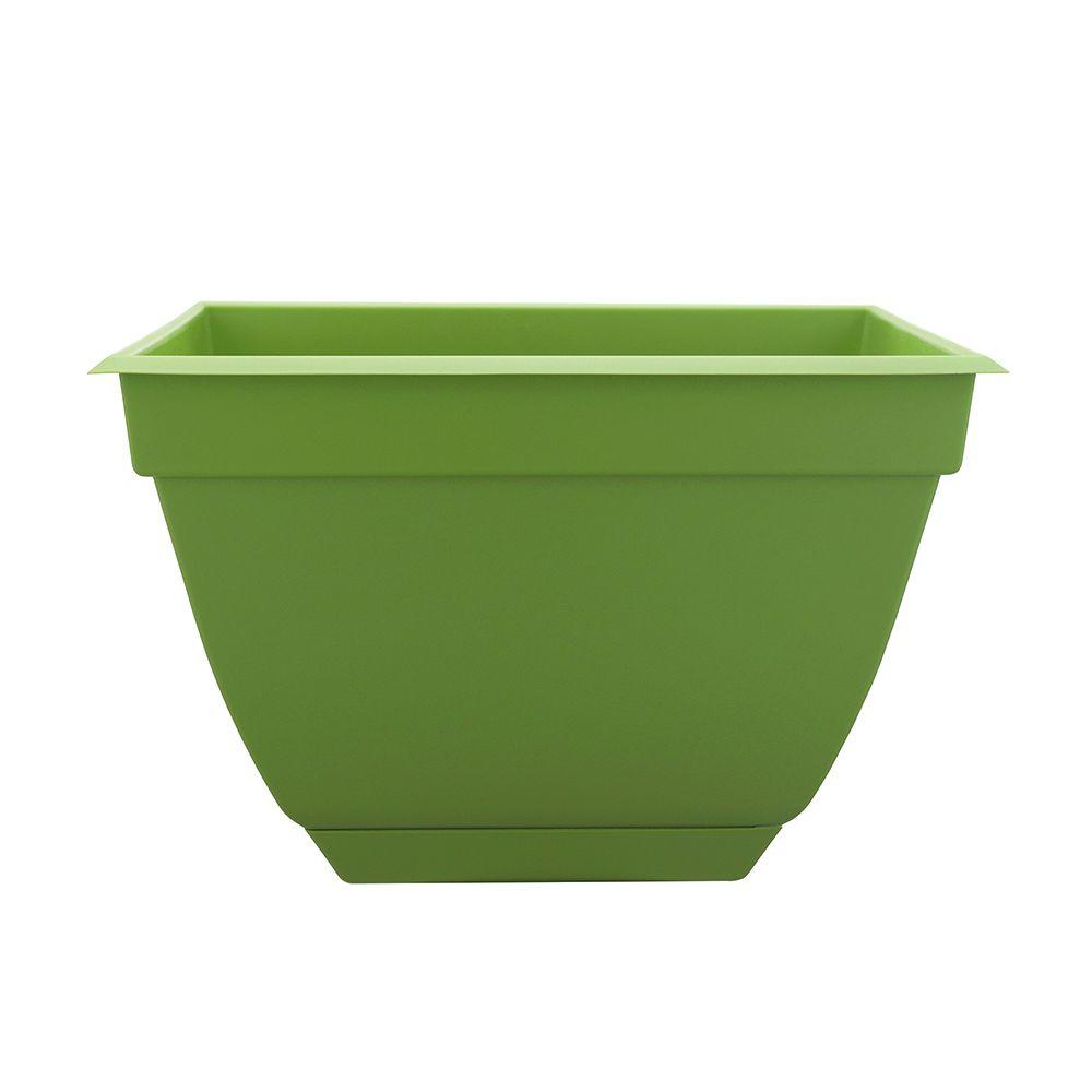 Newbury 13.88 in. x 13.88 in. Lotus Green Poly Square Planter