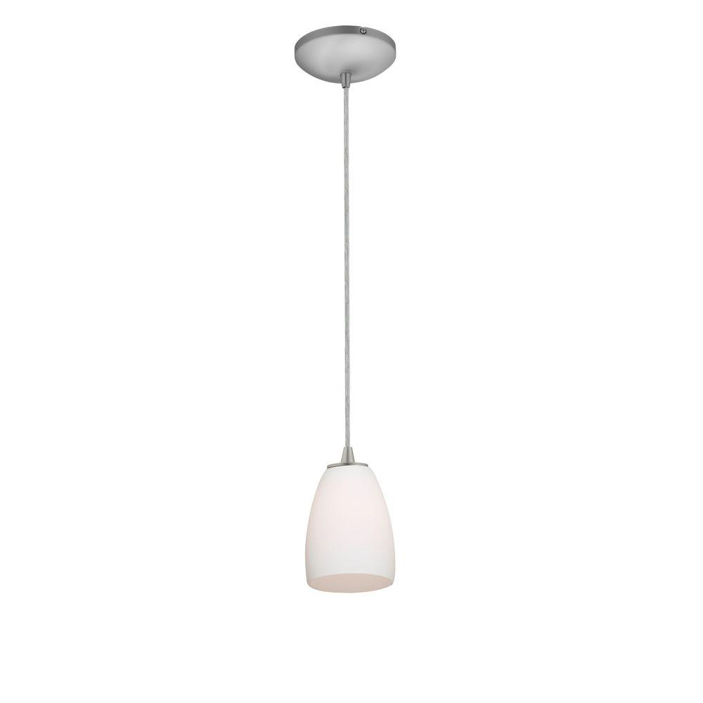 Access Lighting Sherry 1 Light Brushed Steel Metal Pendant With Opal Gl Shade