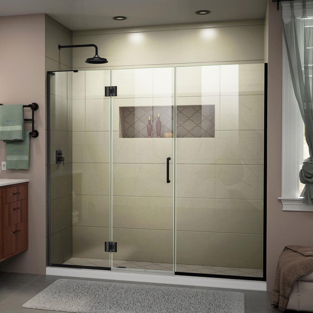 DreamLine Unidoor-X 68 5 to 69 in  x 72 in  Frameless Hinged Shower Door in  Satin Black