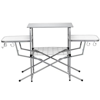 32 in. H White Rectangle Aluminum Foldable Camping Outdoor Picnic Table Kitchen Grilling Stand BBQ