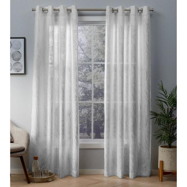 Woodland 54 in. W x 96 in. L Sheer Grommet Top Curtain Panel in Winter White, Silver (2 Panels)