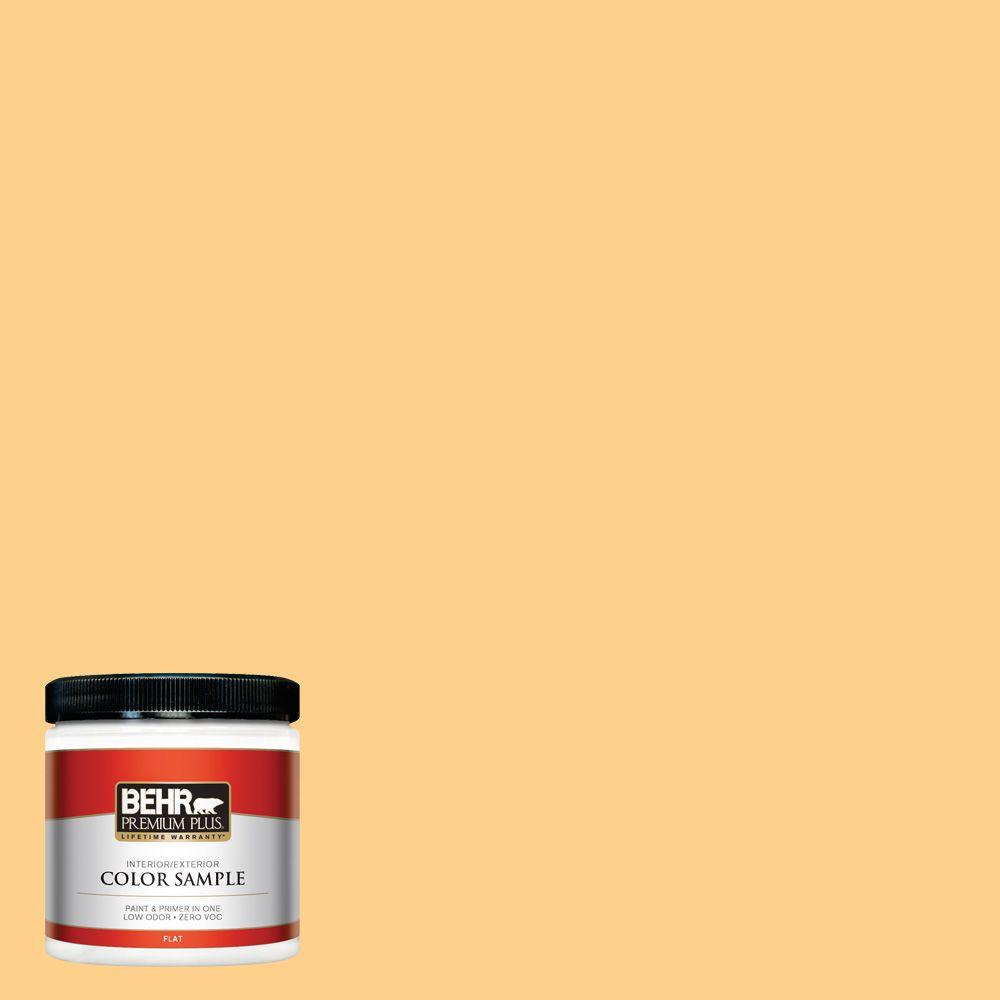BEHR Premium Plus 8 oz. #300B-5 Honey Bird Flat Interior/Exterior Paint and Primer in One Sample
