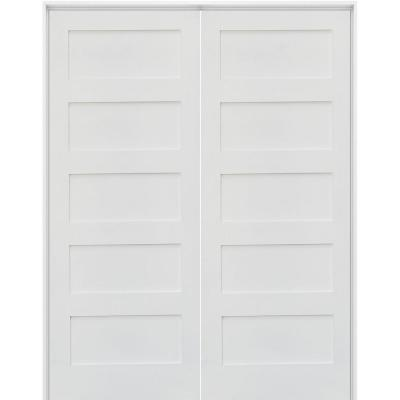 48 in. x 80 in. Craftsman Shaker 5-Panel Both Active MDF Solid Hybrid Core Double Prehung Interior French Door