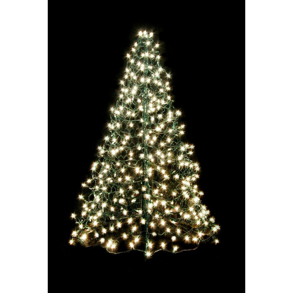 artificial christmas tree folds flat with incandescent clear lights