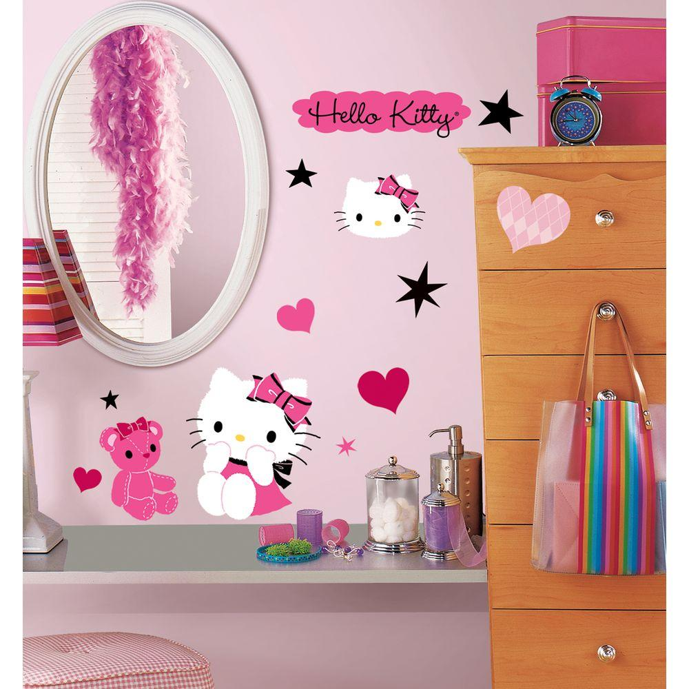 null 10 in. x 18 in. Hello Kitty - Couture 38 -Piece Peel and Stick Wall Decals