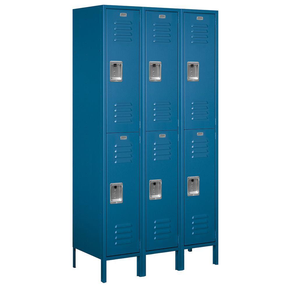 52000 Series 45 in. W x 78 in. H x 18 in. D Double Tier Extra Wide Metal Locker Unassembled in Blue
