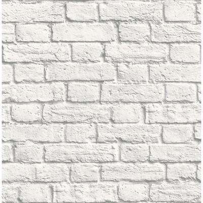 56.4 sq. ft. Cologne White Painted Brick Wallpaper