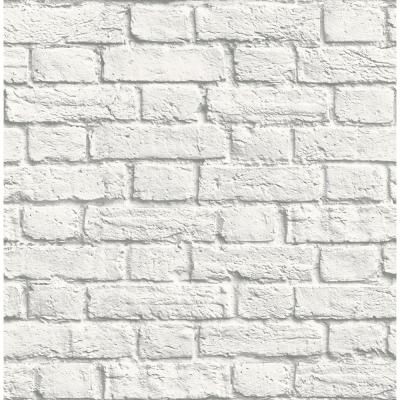 8 in. x 10 in. Cologne White Painted Brick Wallpaper Sample