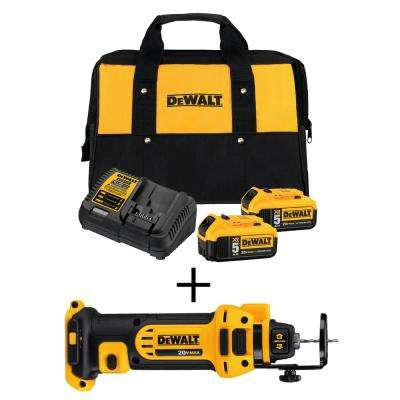20-Volt MAX Lithium-Ion Cordless Drywall Cut-Out Tool with Premium Battery Pack 5.0 Ah (2-Pack), Charger and Kit Bag