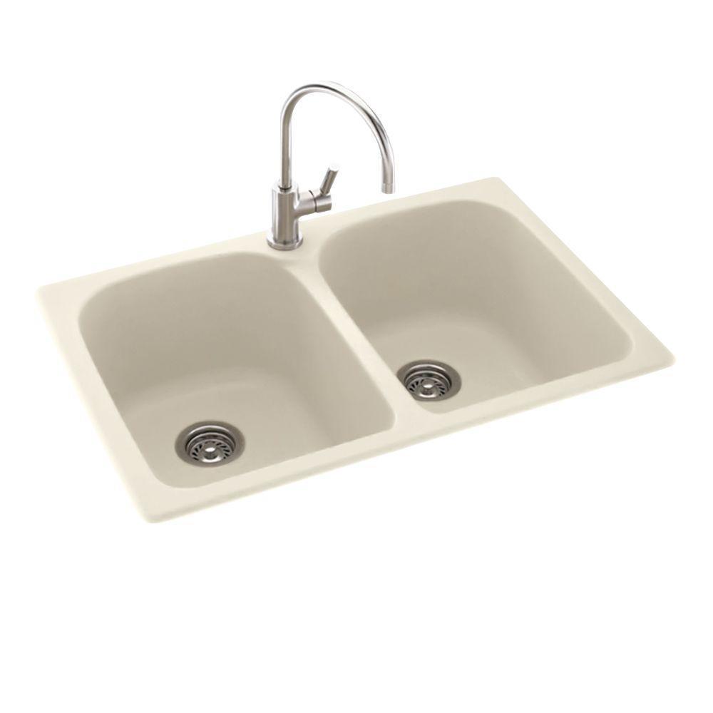 Drop-In/Undermount Composite 33 in. 1-Hole 50/50 Double Bowl Kitchen Sink in Bone