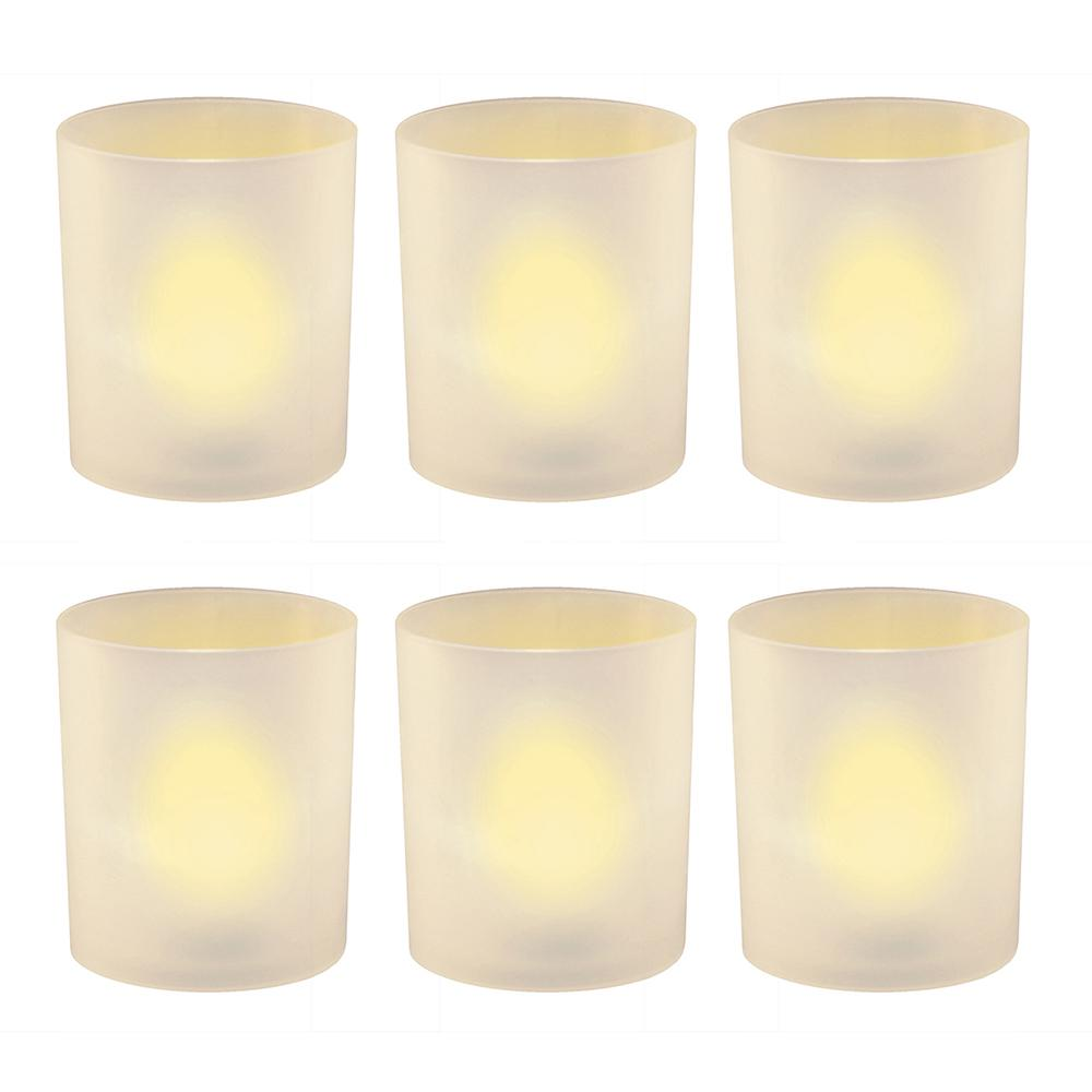 Flameless Votive Candles 2.25 in. Amber Plastic Frosted Holders (6 Count)