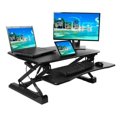 """AIRLIFT Black 35.4"""" Height Adjustable Standing Desk Converter Workstation With Dual Monitor Riser and Keyboard Tray"""