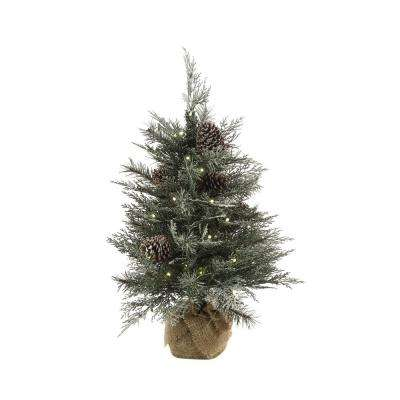 2.5 ft. Pre-Lit Frosted Mountain Spruce Artificial Christmas Tree with 50 Warm White Lights
