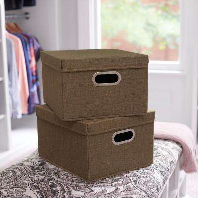 13 in. x 8 in. Moss Linen Bin Set 2-pack