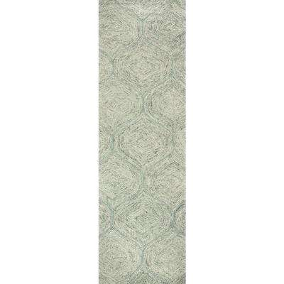 """London Collection Green 100% Wool 2'6"""" x 8' Hand-Tufted Trellis Area Rug"""