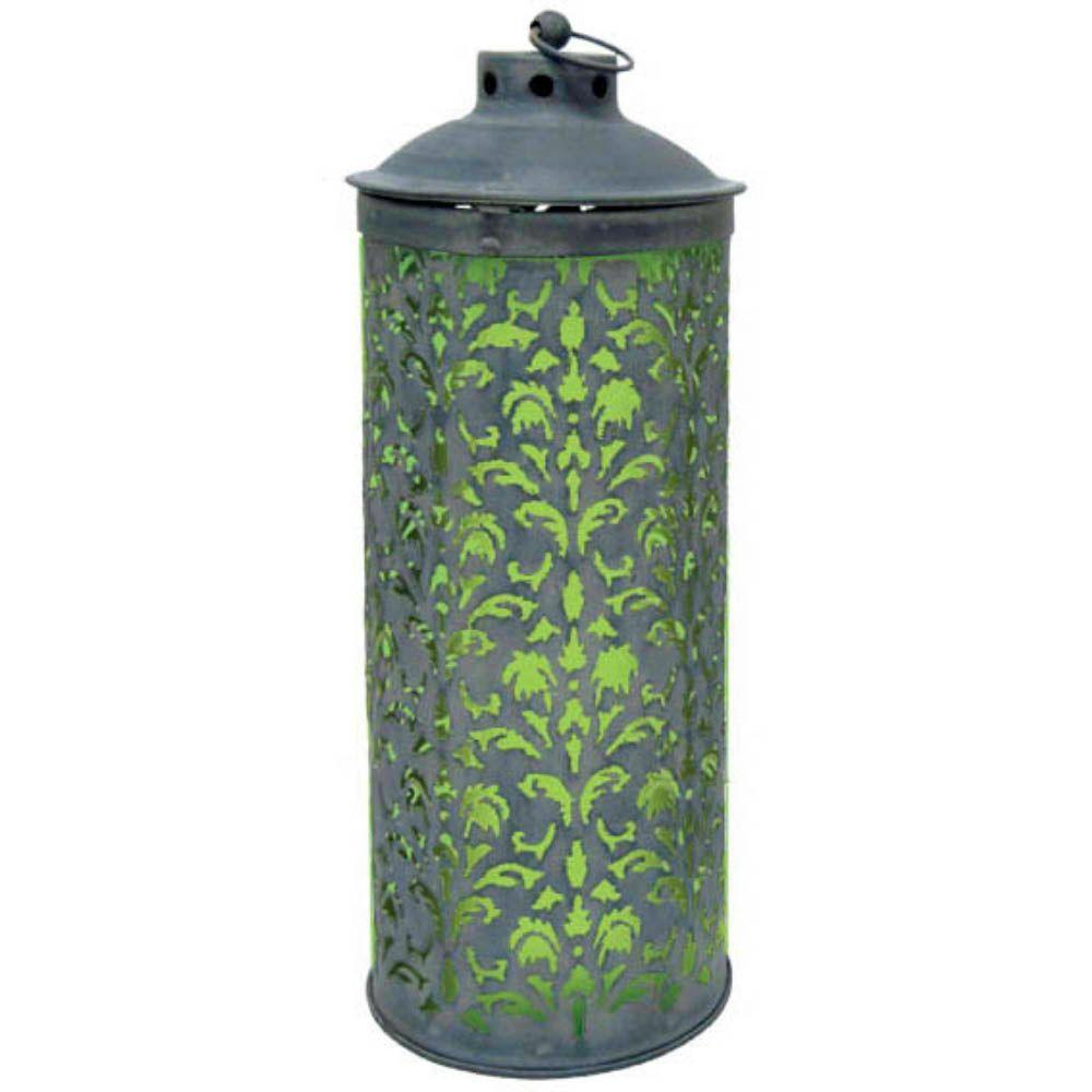 null 18 in. Solar Lace Lantern with Green Light