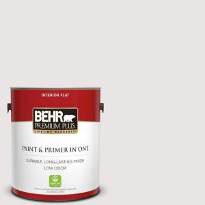 Behr Premium Plus 1 Gal Pr W08 Ambience White Flat Low Odor Interior Paint And Primer In One 105001 The Home Depot