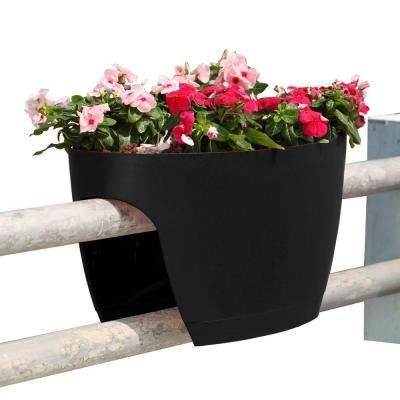 XL Deck Rail Planter Box with Drainage Trays, 24 in., Color Black - Set of 2