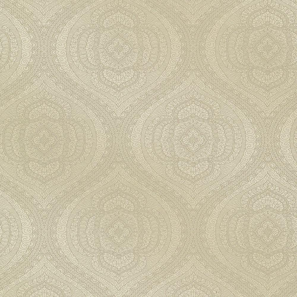 Zaida Taupe Paisley Damask Wallpaper