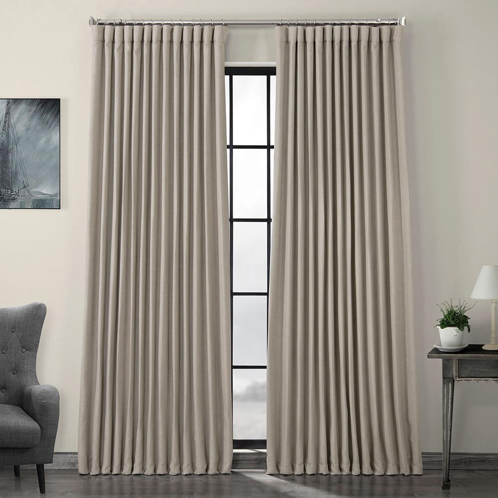 Oatmeal Beige Faux Linen Extra Wide Blackout Curtain - 100 in. W x 108 in. L