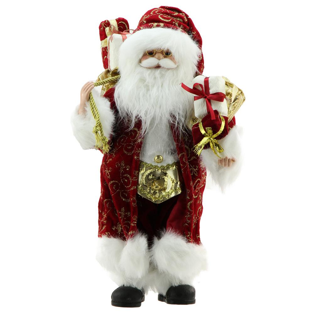Northlight 16 in. Standing Santa Claus in Red and Gold Robe with Gifts Christmas Figure This Santa Claus is full of classic Christmas charm and would make a jolly addition to your holiday decor. Santa is wearing a red coat with gold glittered fleur-de-lis scroll accents over his red and white suit. A bag of presents is over Santa's shoulder while he is carrying more gifts in his other hand. Santa features jolly blue eyes round chubby cheeks and friendly smile. Santa's hat features a jingle bell at the end. Recommended for indoor use. Dimensions: 16 in. H x 9 in. W x 8 in. D. Material(s): plastic/fabric.