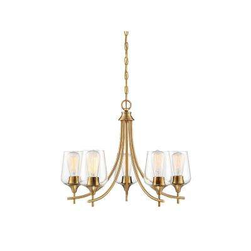 5-Light Warm Brass Chandelier
