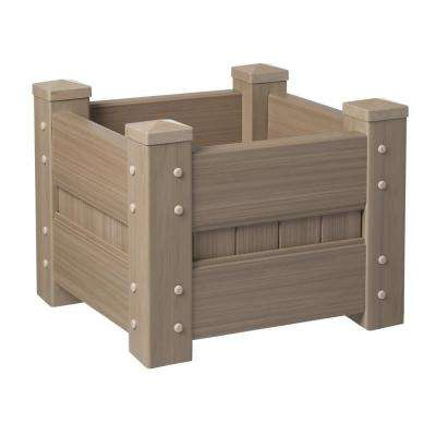 24 in. Square Weathered Cedar Vinyl Planter Box