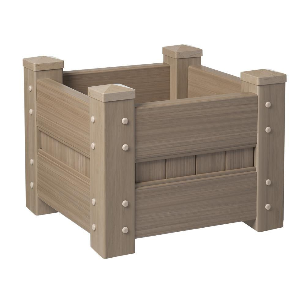 Veranda 24 in. Square Weathered Cedar Vinyl Planter Box