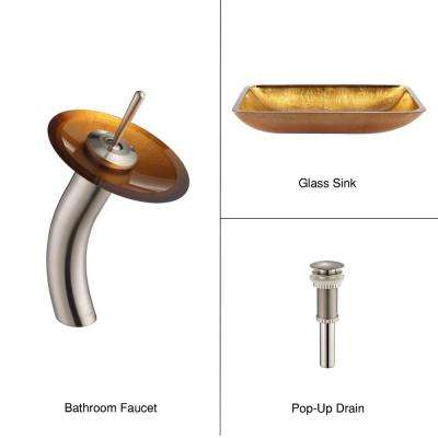 Rectangular Glass Vessel Sink in Gold with Waterfall Faucet in Satin Nickel