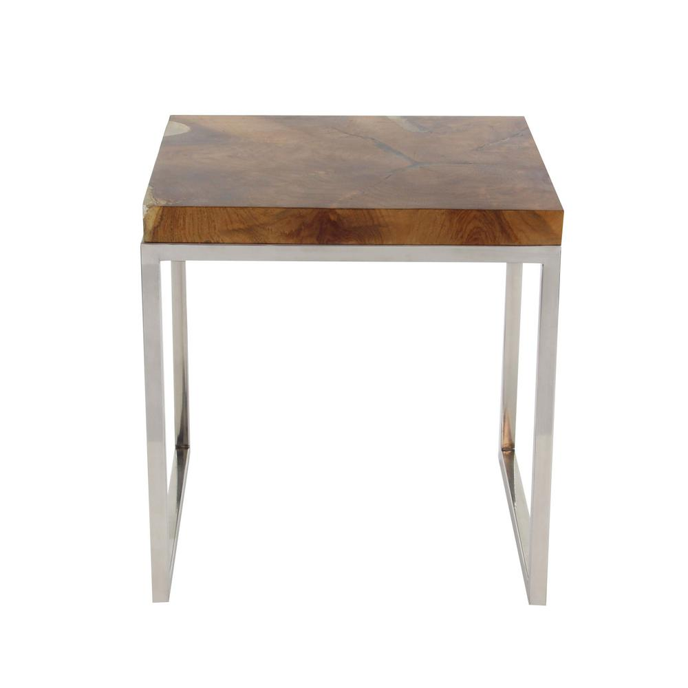 Nice Litton Lane Modern Teak Wood And Stainless Steel Square Side Table Set In  Satin Gloss Finish