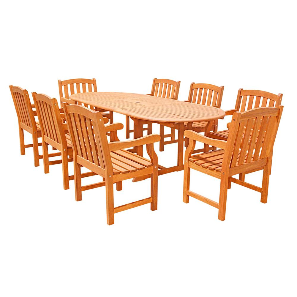 Vifah Malibu 9 Piece Wood Oval Outdoor Dining Set V144set4