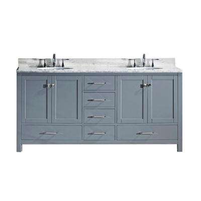 Caroline Avenue 72 in. W Bath Vanity in Gray with Marble Vanity Top in White with Round Basin