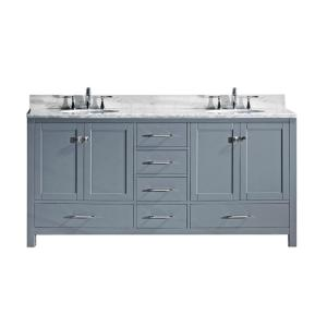 Virtu USA Caroline Avenue 72 inch W x 22 inch D Double Vanity in Gray with Marble Vanity Top in White with White Basin by Virtu USA